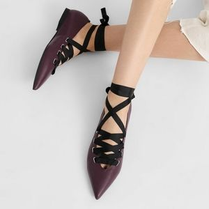 Charles&Keith vegan leather lace up flats
